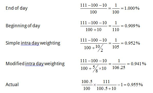 Timing of intra day cash flow - example 1